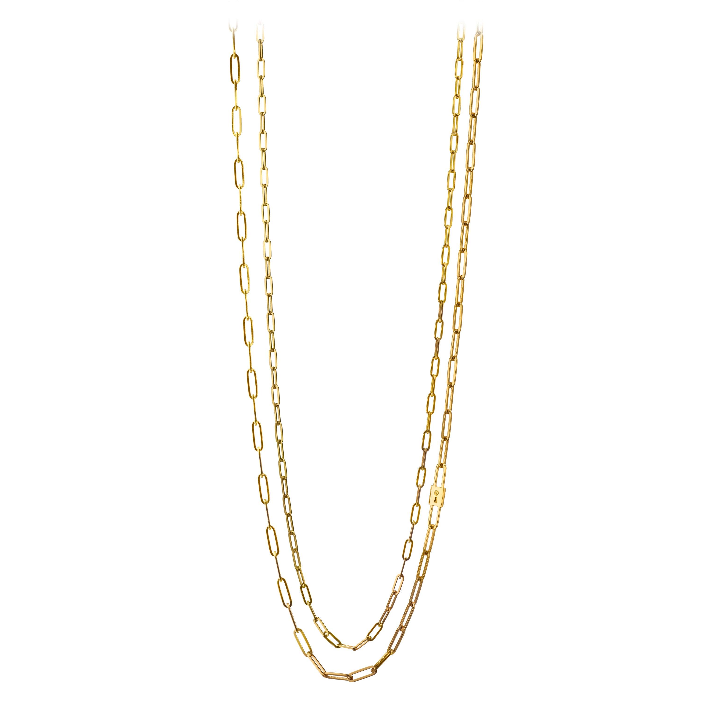 "Monica Rich Kosann 18K Yellow Gold Double Strand ""Lock"" Charm Paperclip Necklace"