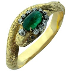 Victorian Emerald Diamond Gold Serpent Snake Bangle Bracelet