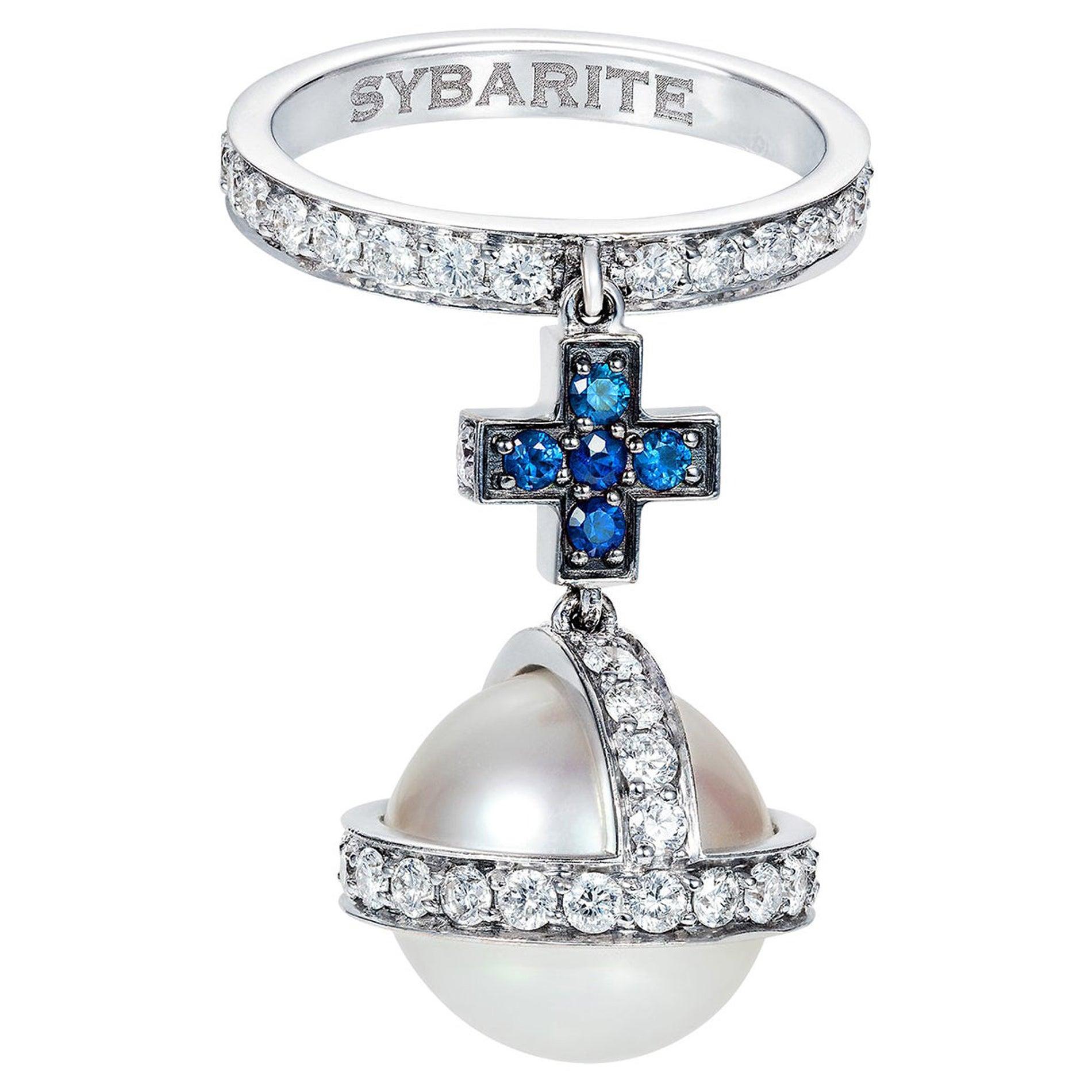 Sybarite Jewellery 18 Karat White Gold 1.46 Carats White Diamonds Dangle Ring