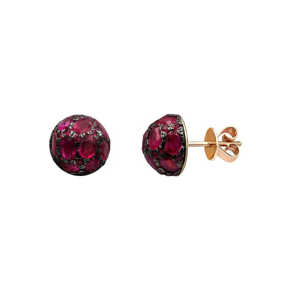 Impressive Blue Ruby Diamond Yellow Gold Earrings