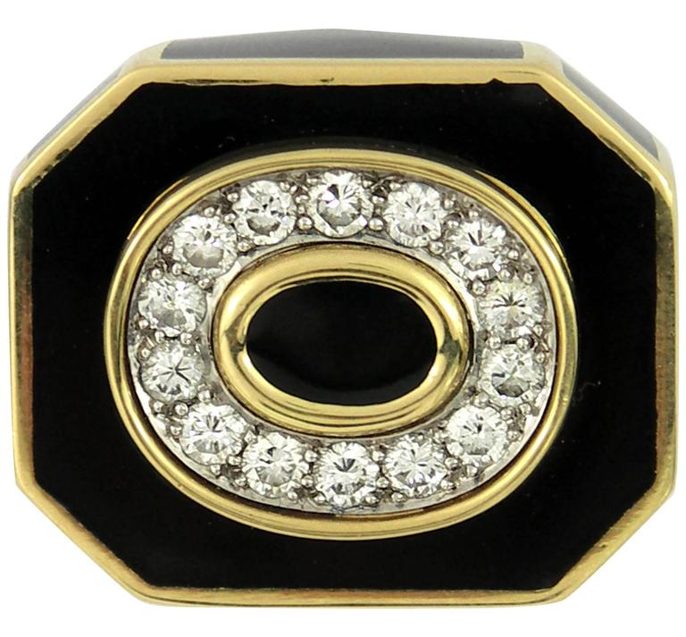 David Webb Black Enamel Diamond Gold Ring