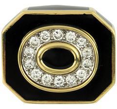 David Webb Black Enamel Diamond Gold Ring