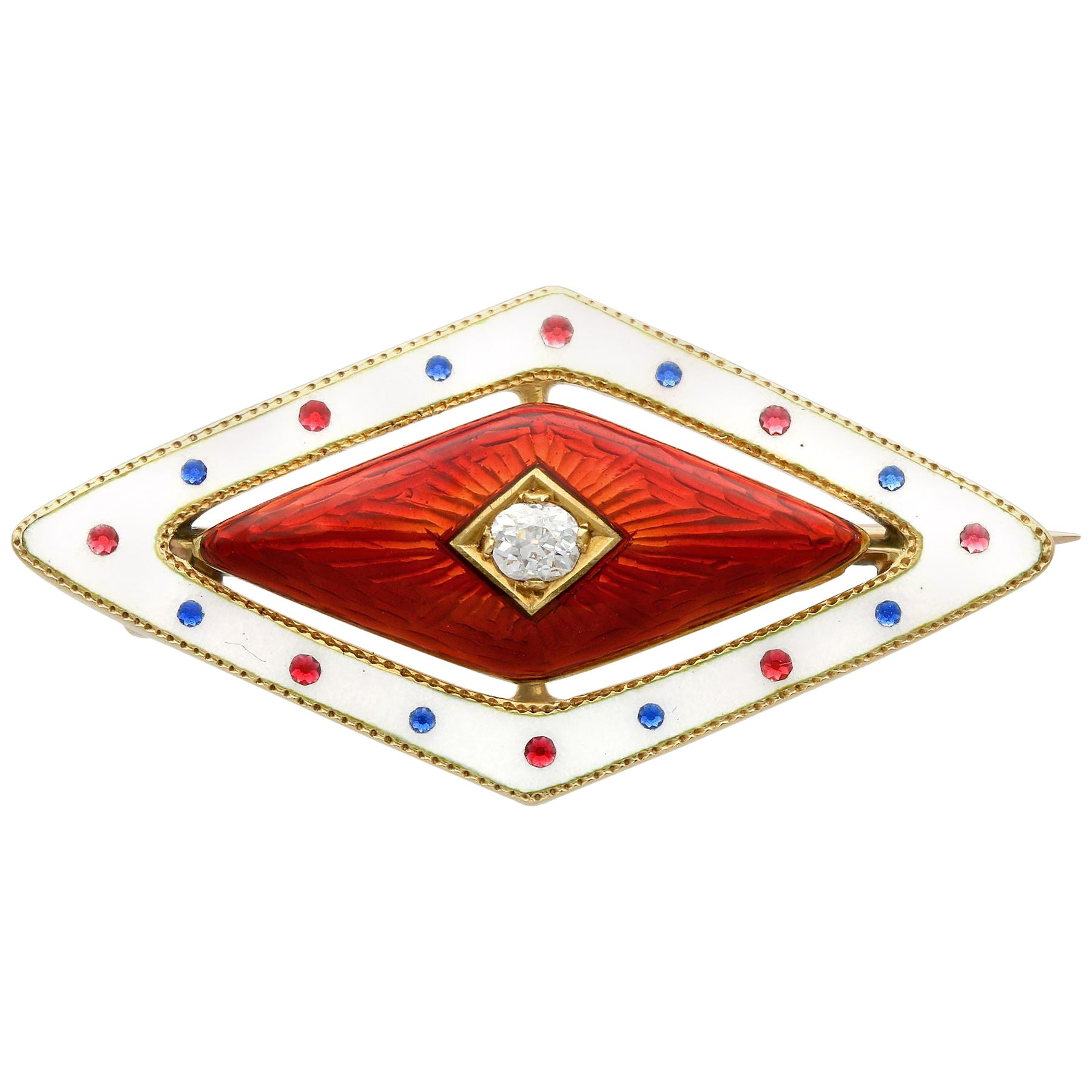 Antique Victorian Diamond and Enamel Yellow Gold Brooch