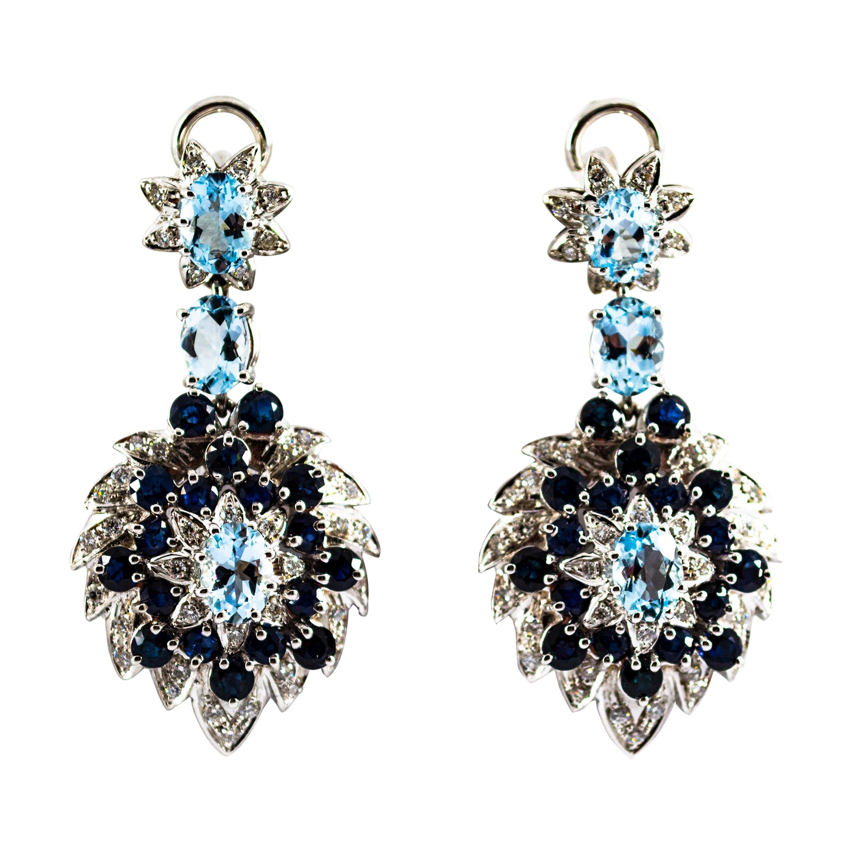 10.10 Carat White Diamond Blue Sapphire Aquamarine White Gold Clip-On Earrings
