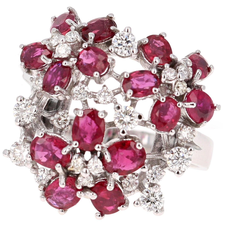 3.36 Carat Ruby and Diamond 18 Karat White Gold Cocktail Ring
