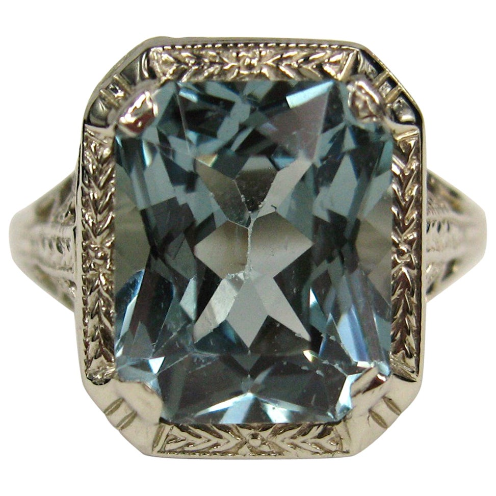 1920s 14 Karat White Gold Blue Synthetic Spinel Ring, GIA Certification