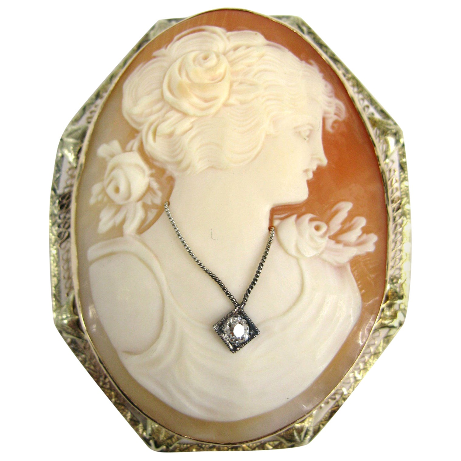14 Karat Gold Cameo Brooch Diamond Pendant