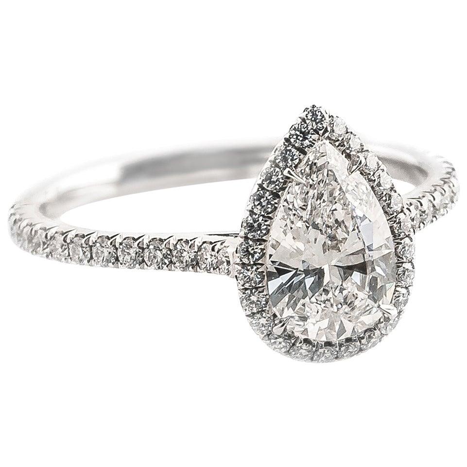 Fabricated Platinum .88 Carat D-VS1 Pear Shape Diamond Halo Engagement Ring