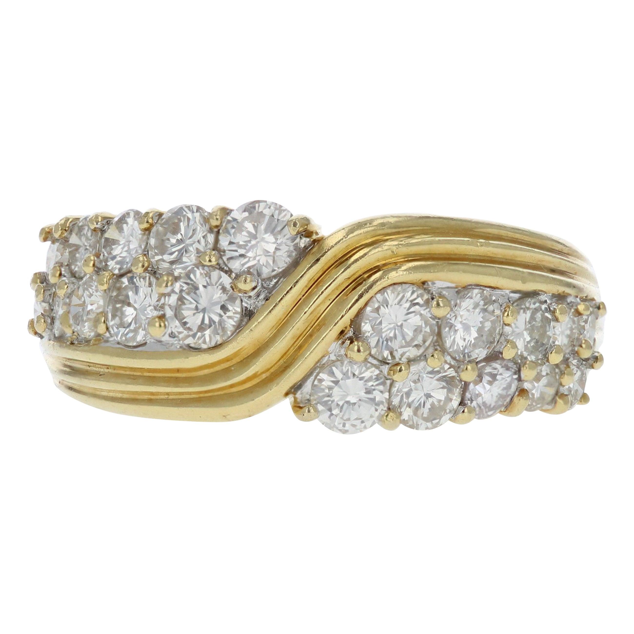 Geometric Yellow Gold and Diamond Retro Ring