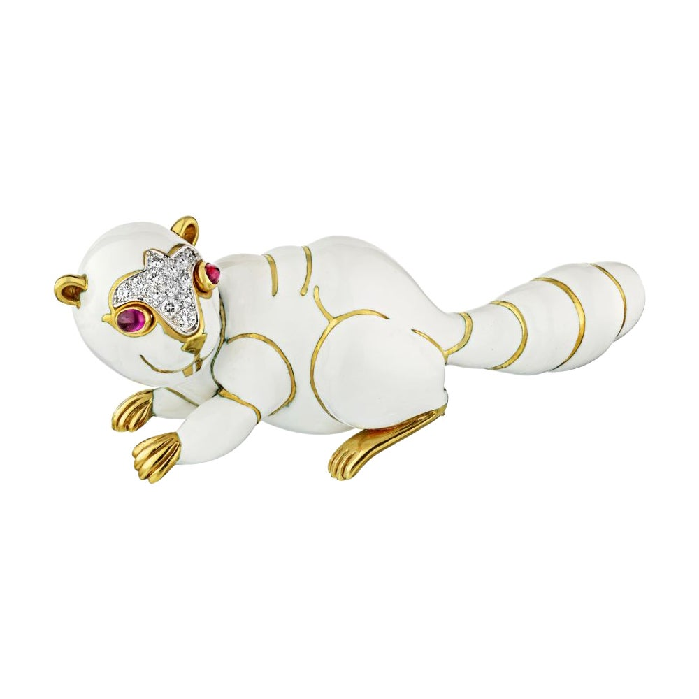 David Webb White Enamel Red Ruby Eyes Diamond Beaver Pin Brooch