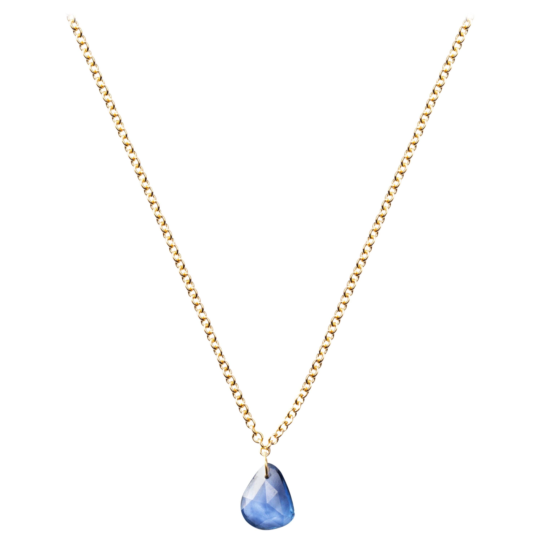 Jona Blue Sapphire 18 Karat Yellow Gold Pendant Necklace