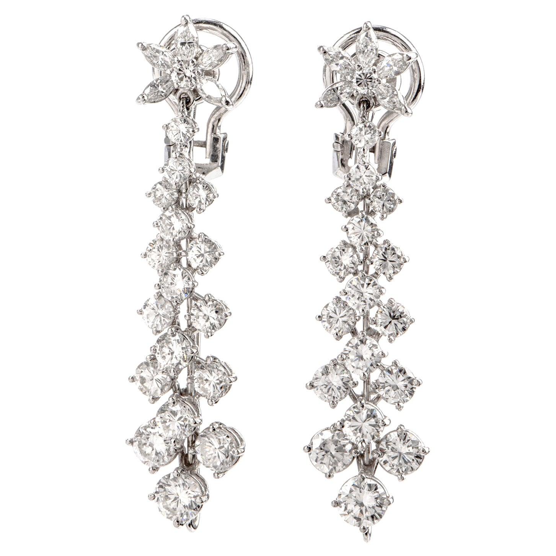 Long Diamond Platinum Floral Dangling Drop Earrings