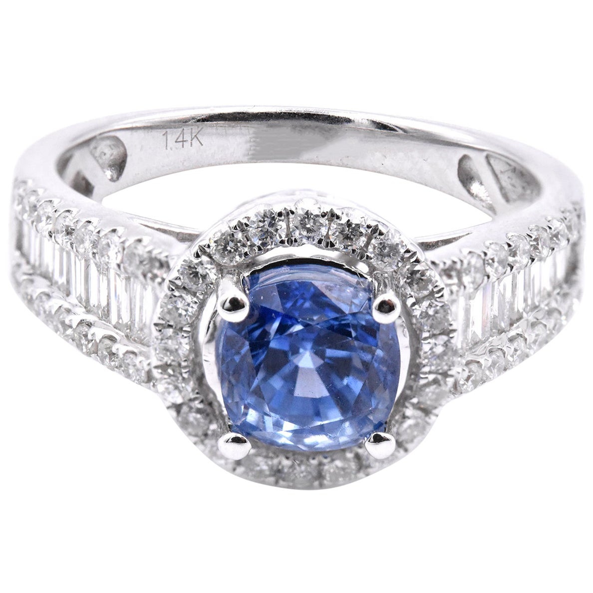 14 Karat White Gold Ceylon Sapphire and Diamond Ring