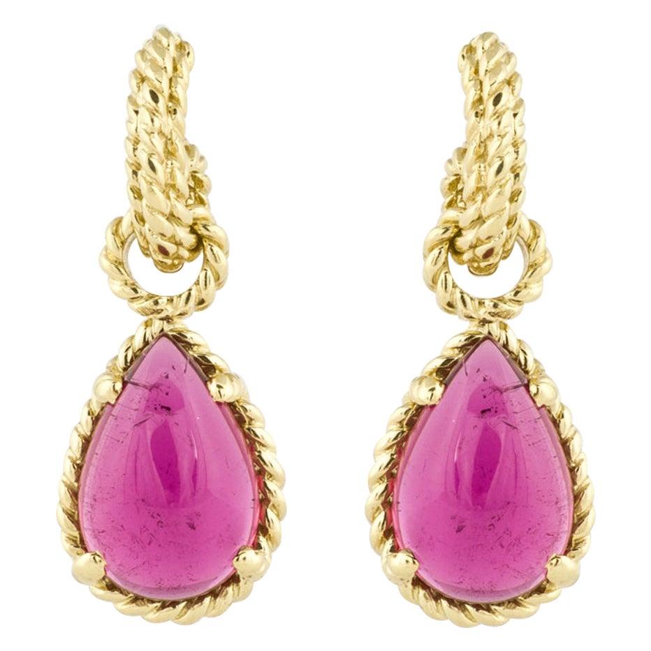 Cassis 18K Yellow Gold Pink Tourmaline Drop Earrings