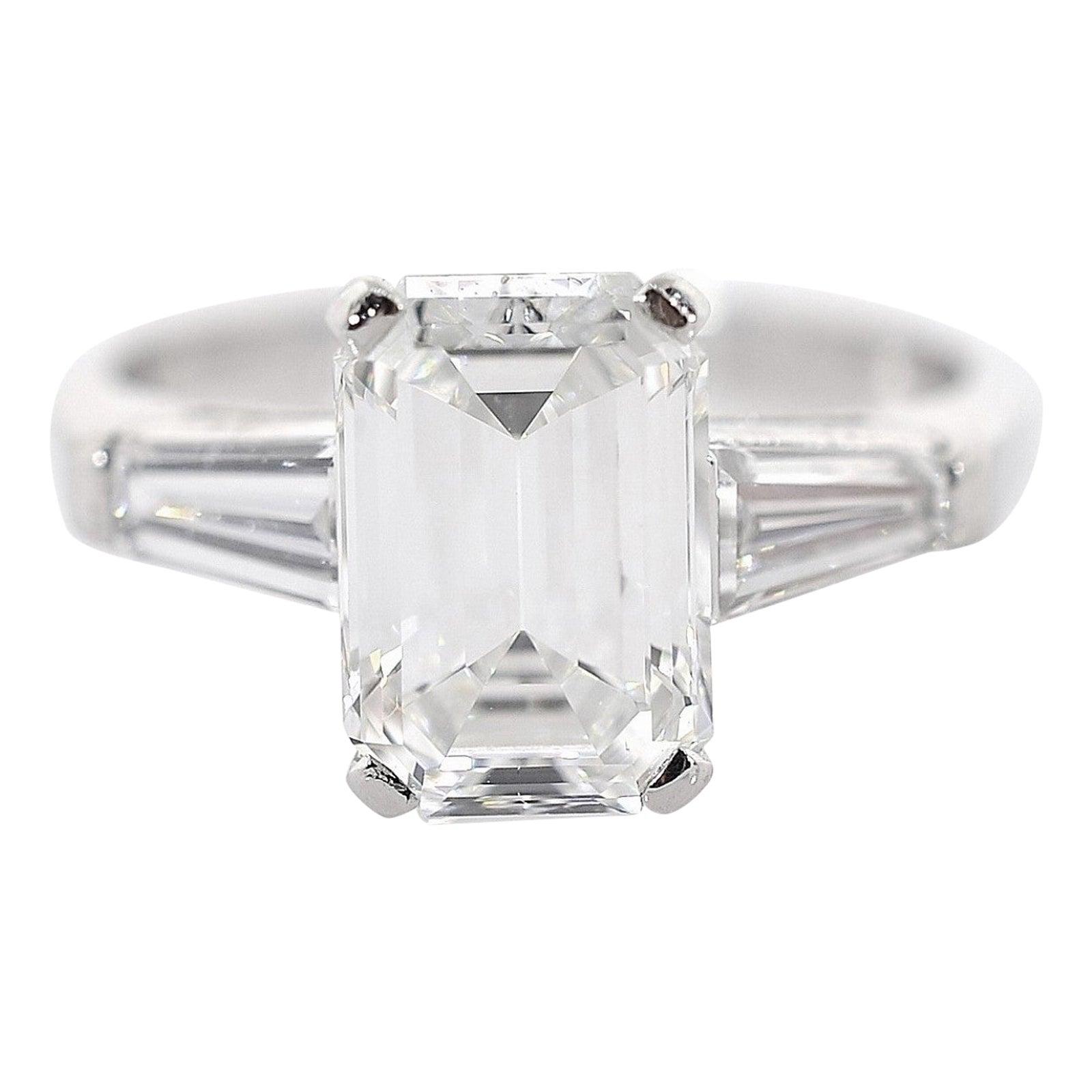 GIA Certified 2.23 Carat Emerald Cut Diamond Vintage Ring