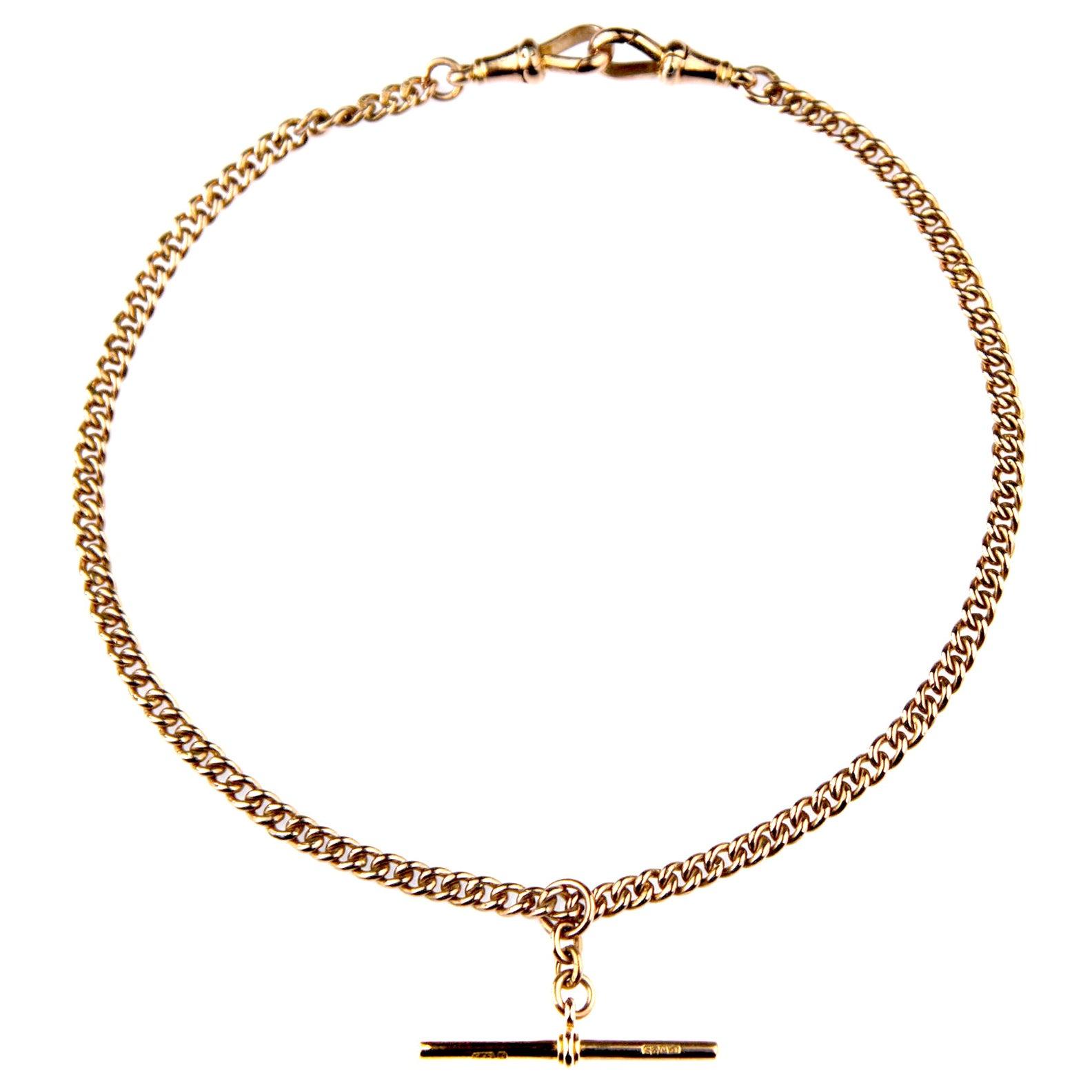 Antique Double Albert Watch Rose Gold Chain, British Hallmarked 1919
