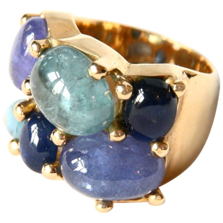 Tanzanite Aquamarine Blue Sapphire Cabochon 18 Karat Solid Gold Band Ring