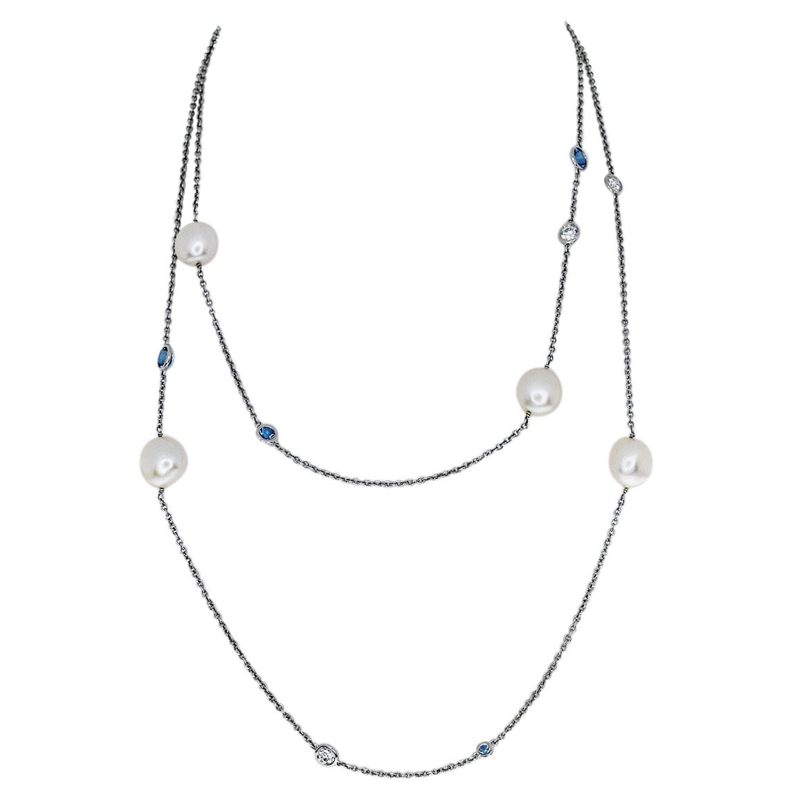 Tiffany & Co. Diamond Pearl Aquamarine Platinum by the Yard Long Necklace