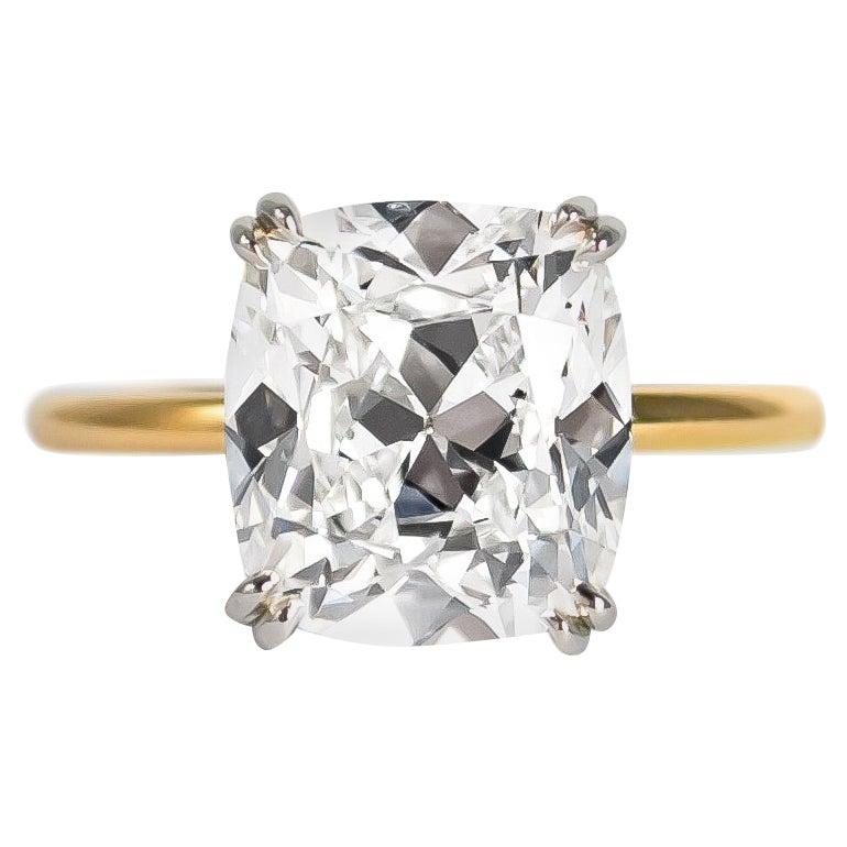 J. Birnbach GIA Certified 4.21 Carat Cushion Brilliant Diamond Solitaire Ring