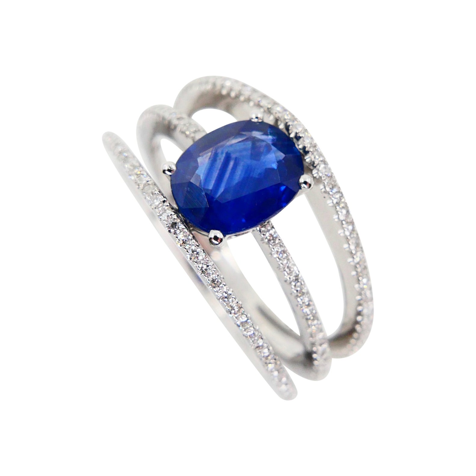 Blue Sapphire and Diamond Cocktail Ring, 3 Rows Design, 18 Karat White Gold