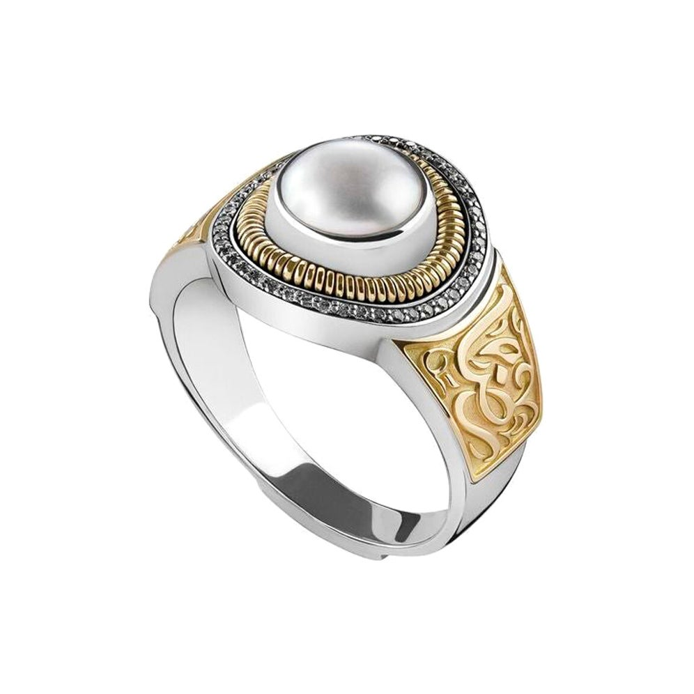 18 Karat Gold, Pearl and Diamond Signature Calligraphy Ring
