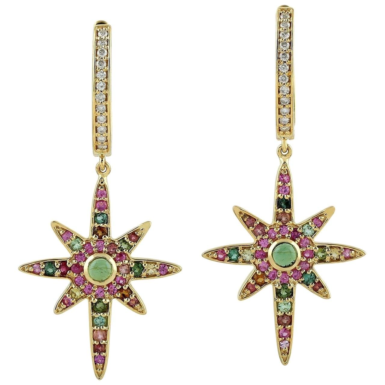 Tourmaline Diamond 18 Karat Gold Star Earrings
