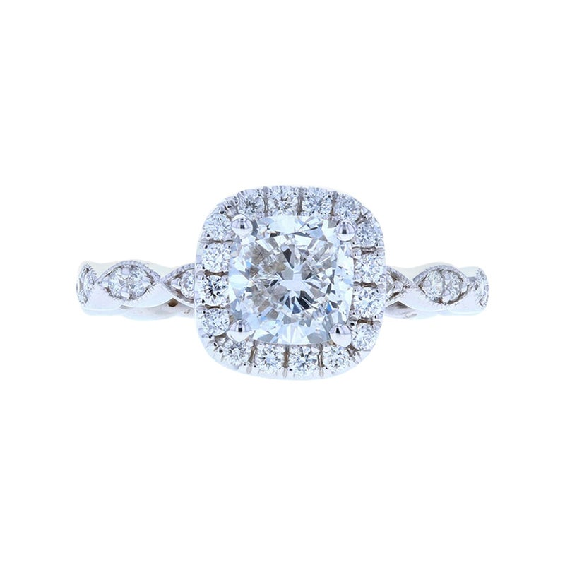 Beautiful Scalloped Cushion Cut Diamond Engagement Ring
