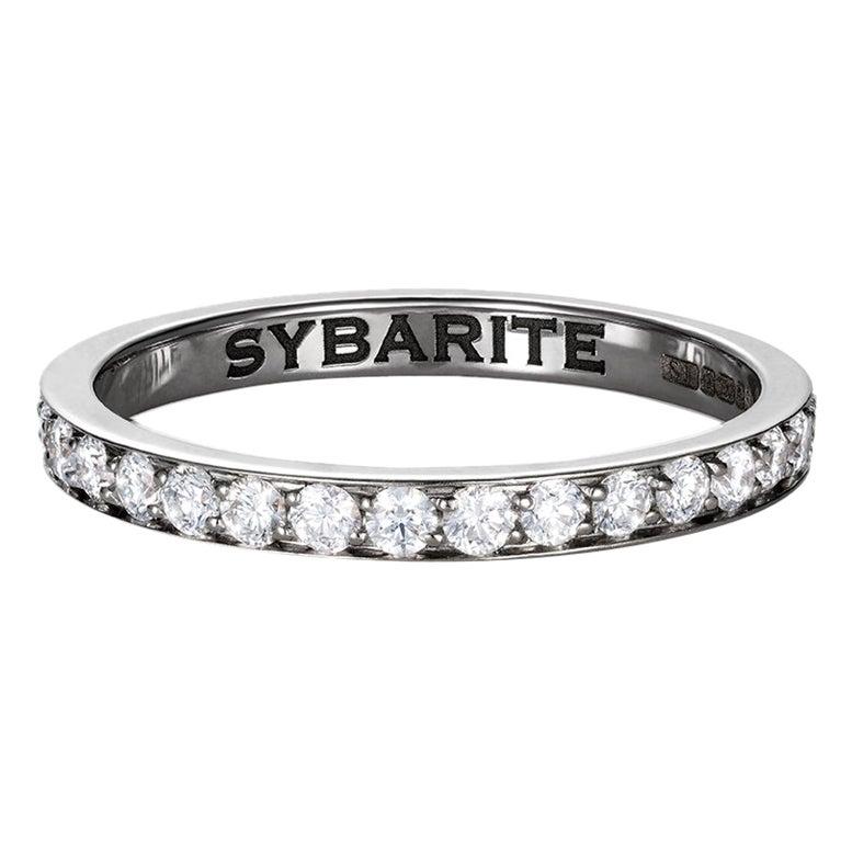 Sybarite Jewellery Band Ring 18 Karat White Gold 0.64 Carats White Diamonds