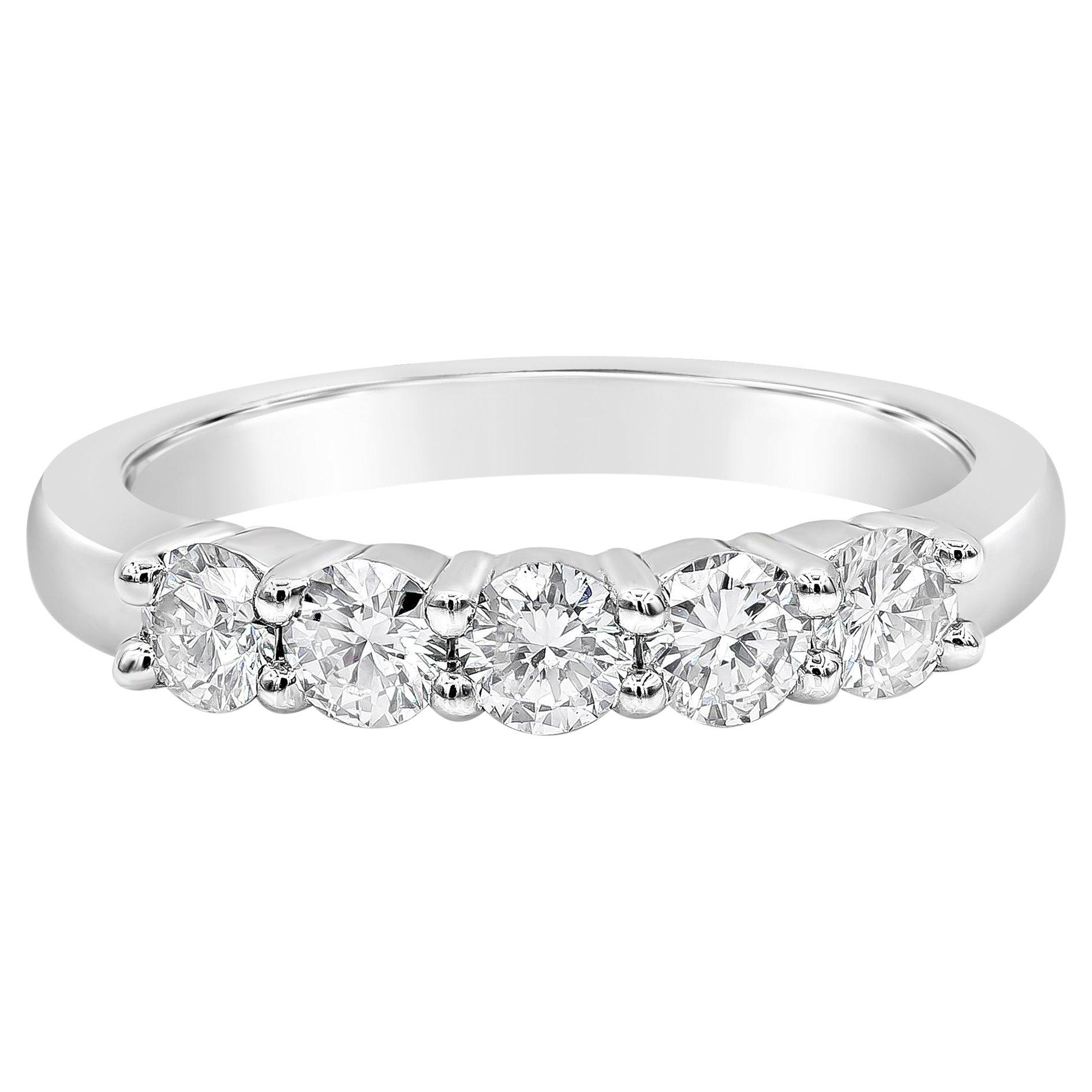 Roman Malakov 0.75 Carat Round Diamond Platinum Five-Stone Wedding Band