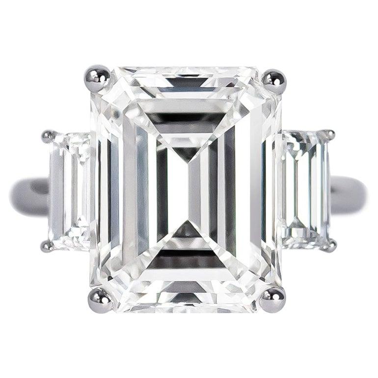GIA Certified 9.10 Carat Emerald Cut Diamond Three-Stone Ring