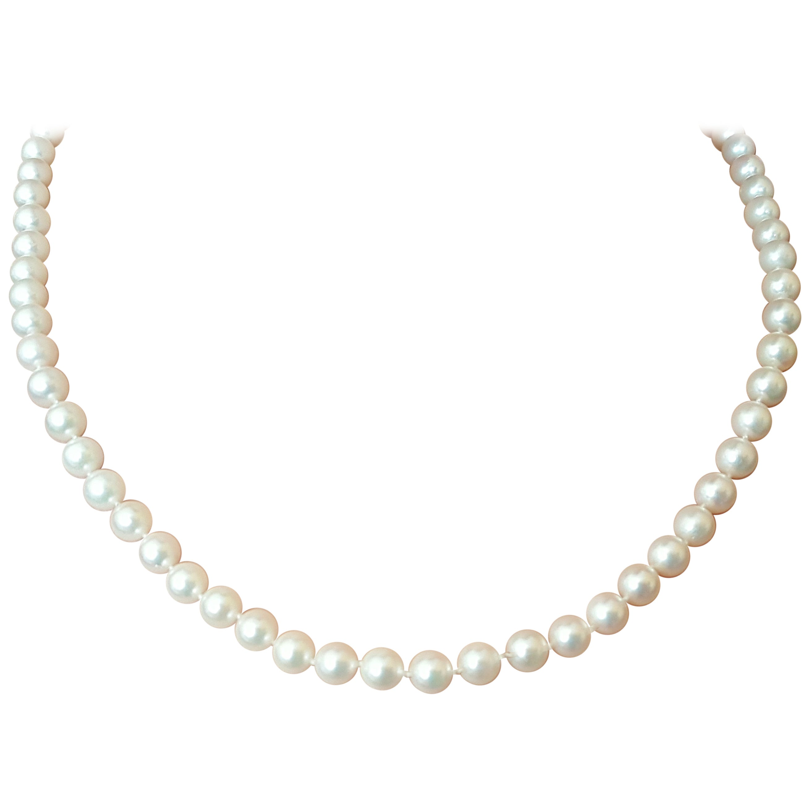 White Cultured Pearl Strand 14 Karat Yellow Gold Clasp