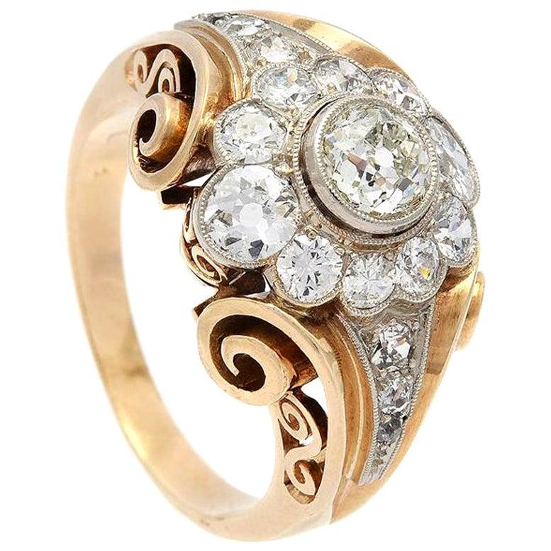 Decorative Diamond Retro Ring, 1950s
