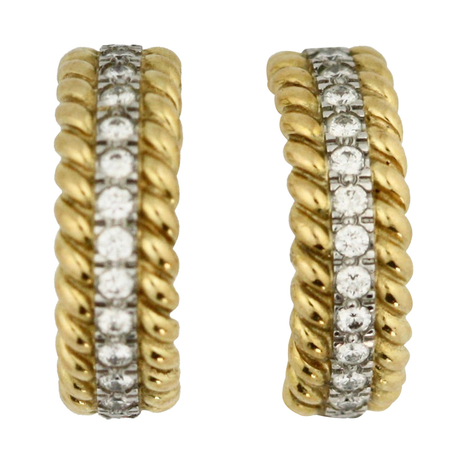Pair of Platinum, Gold and Diamond Earrings Schlumberger for Tiffany & Co.