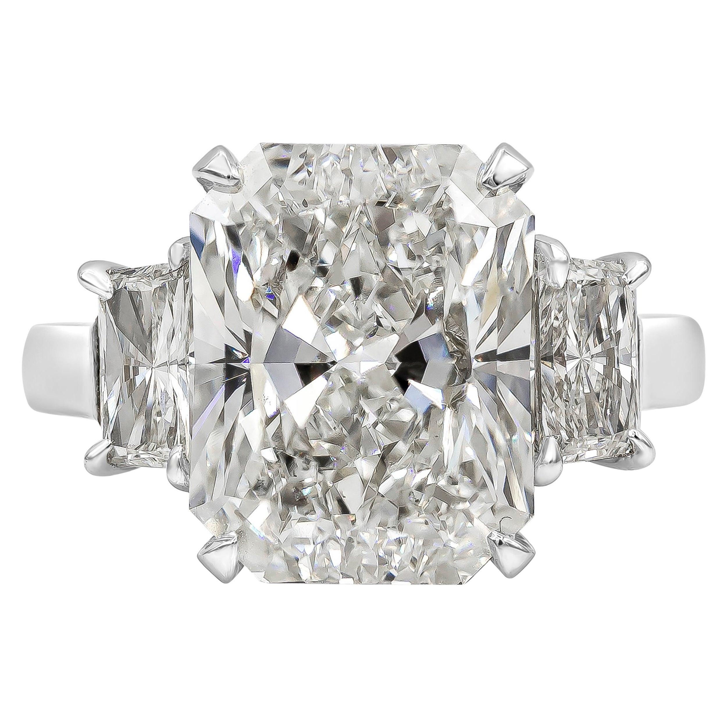 Roman Malakov Radiant Cut Diamond Platinum Three-Stone Engagement Ring