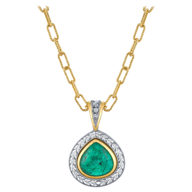 5.24 ct. Emerald Cabochon Pear, Diamond Halo, Yellow & White Drop Pendant