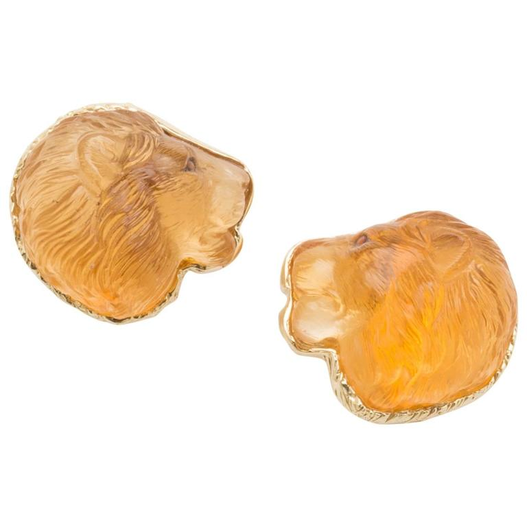 "Honoring ""Cecil"" Citrine Lion Earrings"