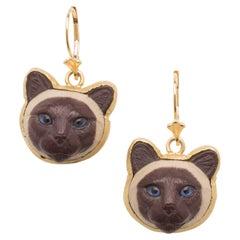 Cappuccino Jasper Gold Cat Head Earrings