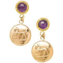 Equestrian Coin Drop Earrings with Amethyst Cabochons
