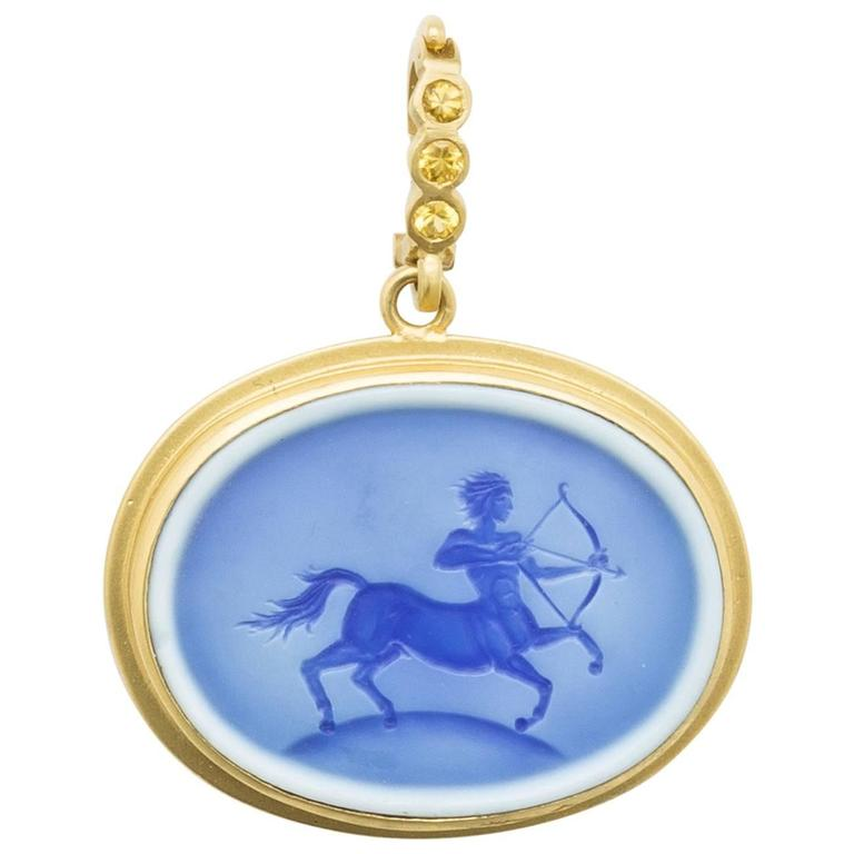 Blue Agate Sagittarius Pendant For Sale