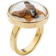 Crystal Gold Hand Painted Corgi Ring