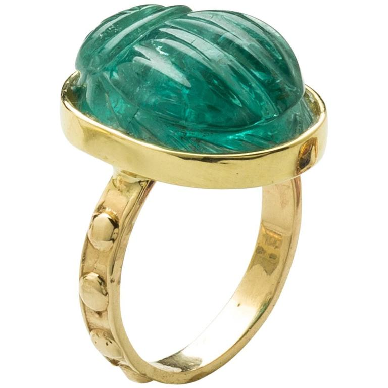 Green Tourmaline Gold Scarab Cocktail Ring