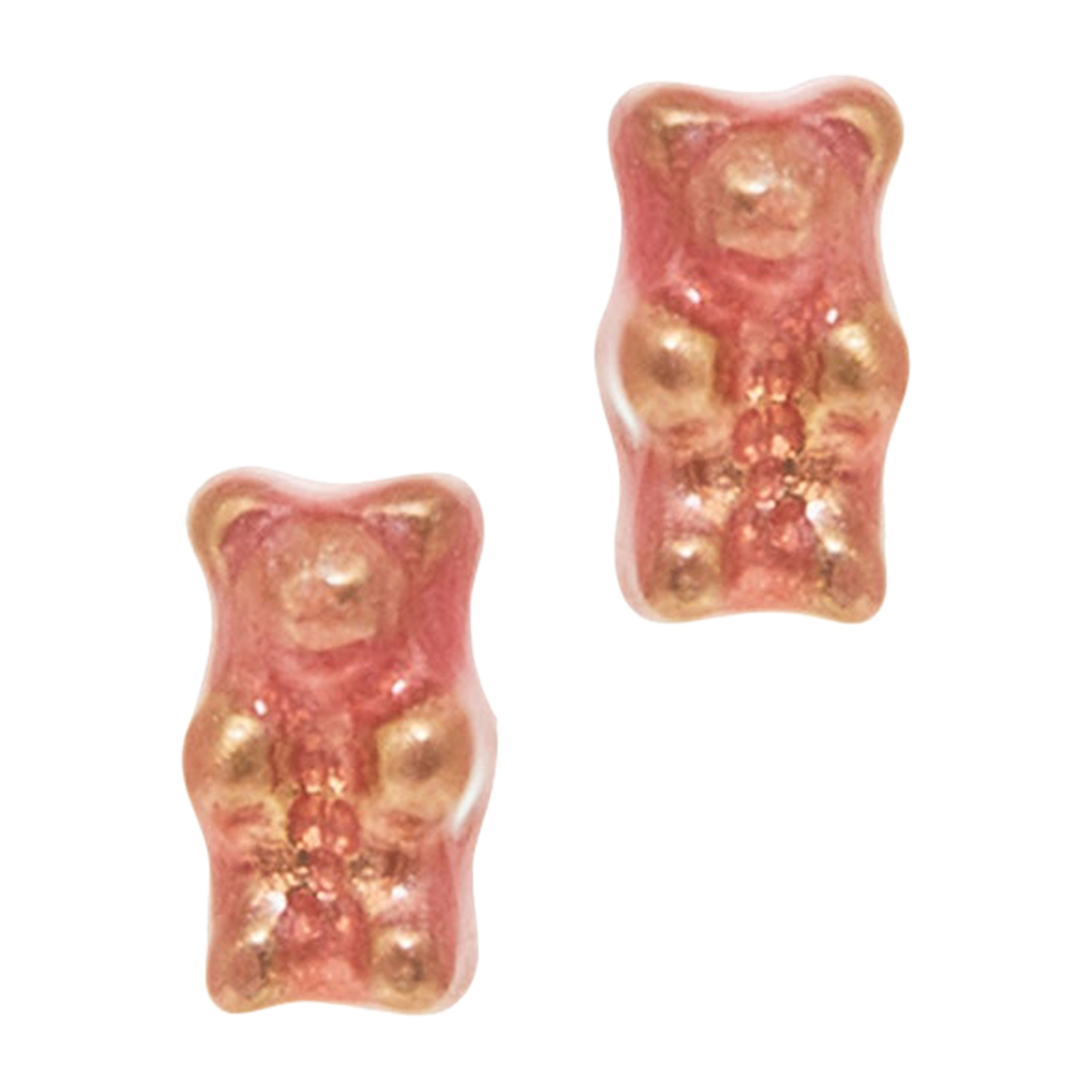 Studs Earrings Gummy Bears Pink  Gift 18k Gold-Plated Silver Greek Jewelry