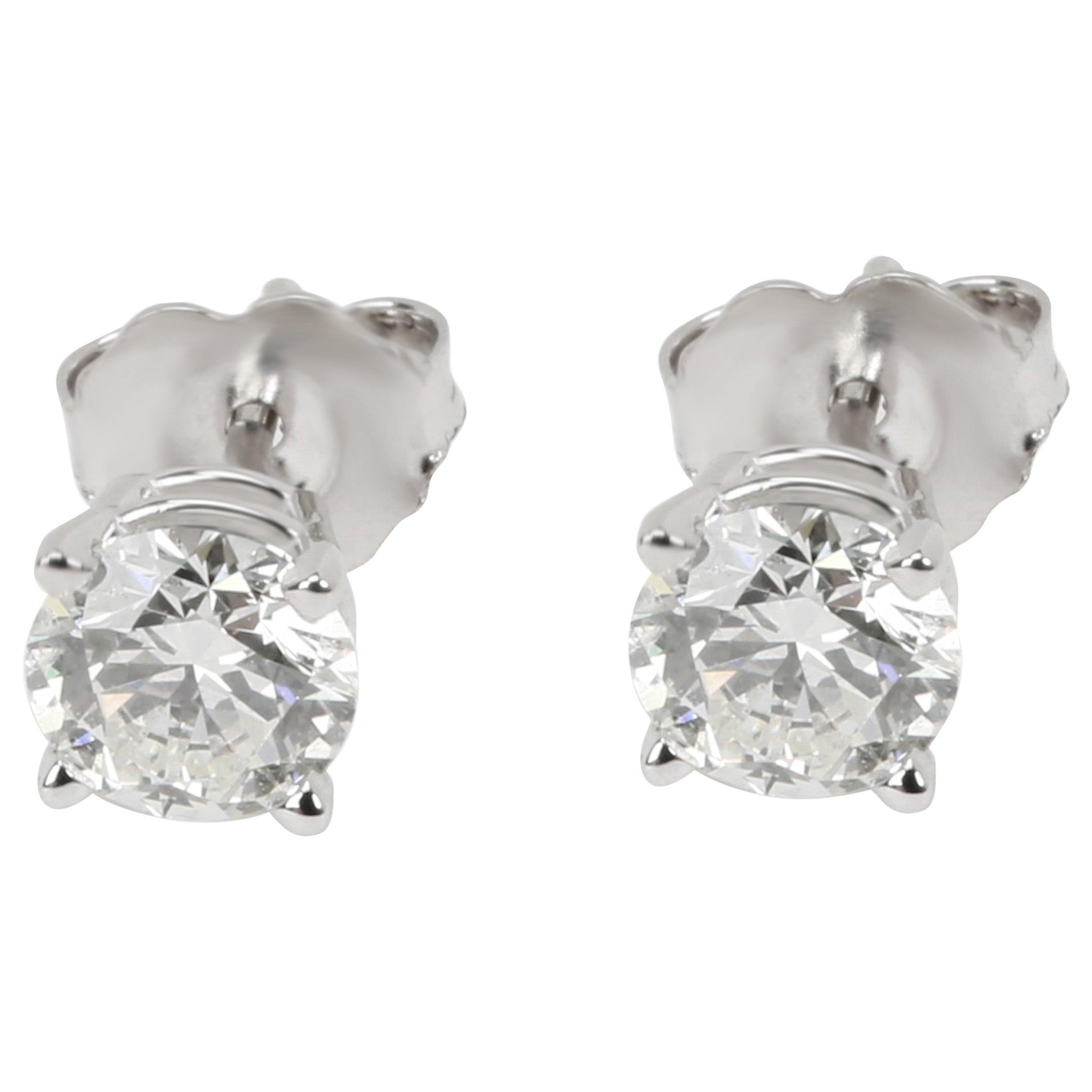 GIA Certified Diamond Stud Earring in 14 Karat White Gold 1.02 Carat