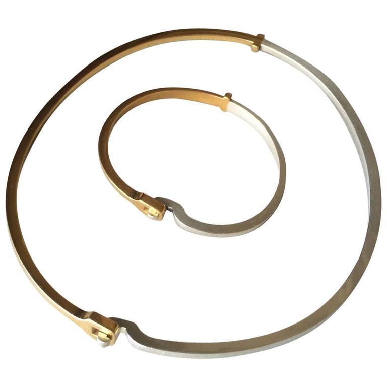 Georg Jensen Silver Vermeil Bracelet and Neck Ring Suite by Andreas Mikkelsen