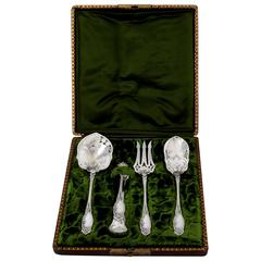 COIGNET French All Sterling Silver Dessert Hors D'oeuvre Set 4 pc Box Apples