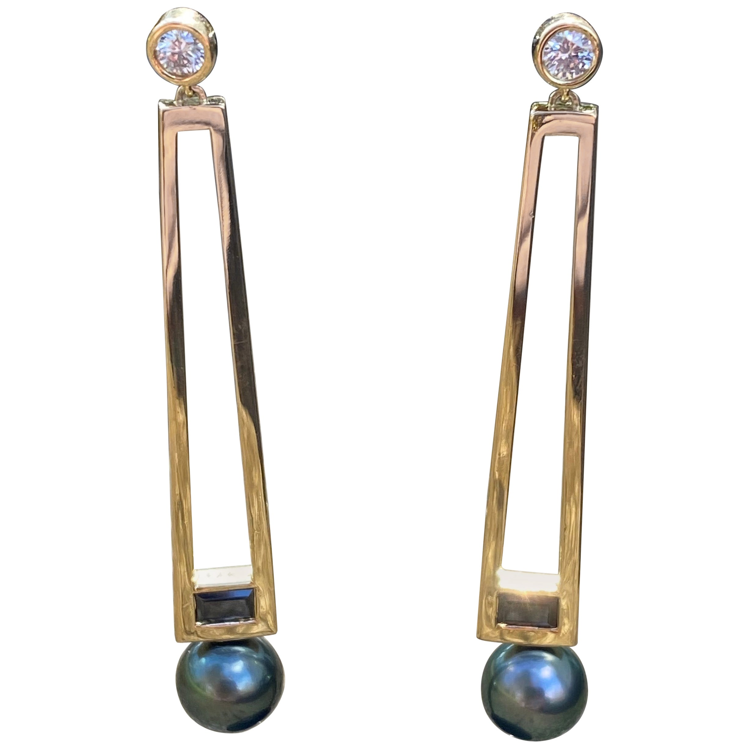 18 Karat Gold Diamond, Black Spinel, and Tahitian Pearl Statement Earrings