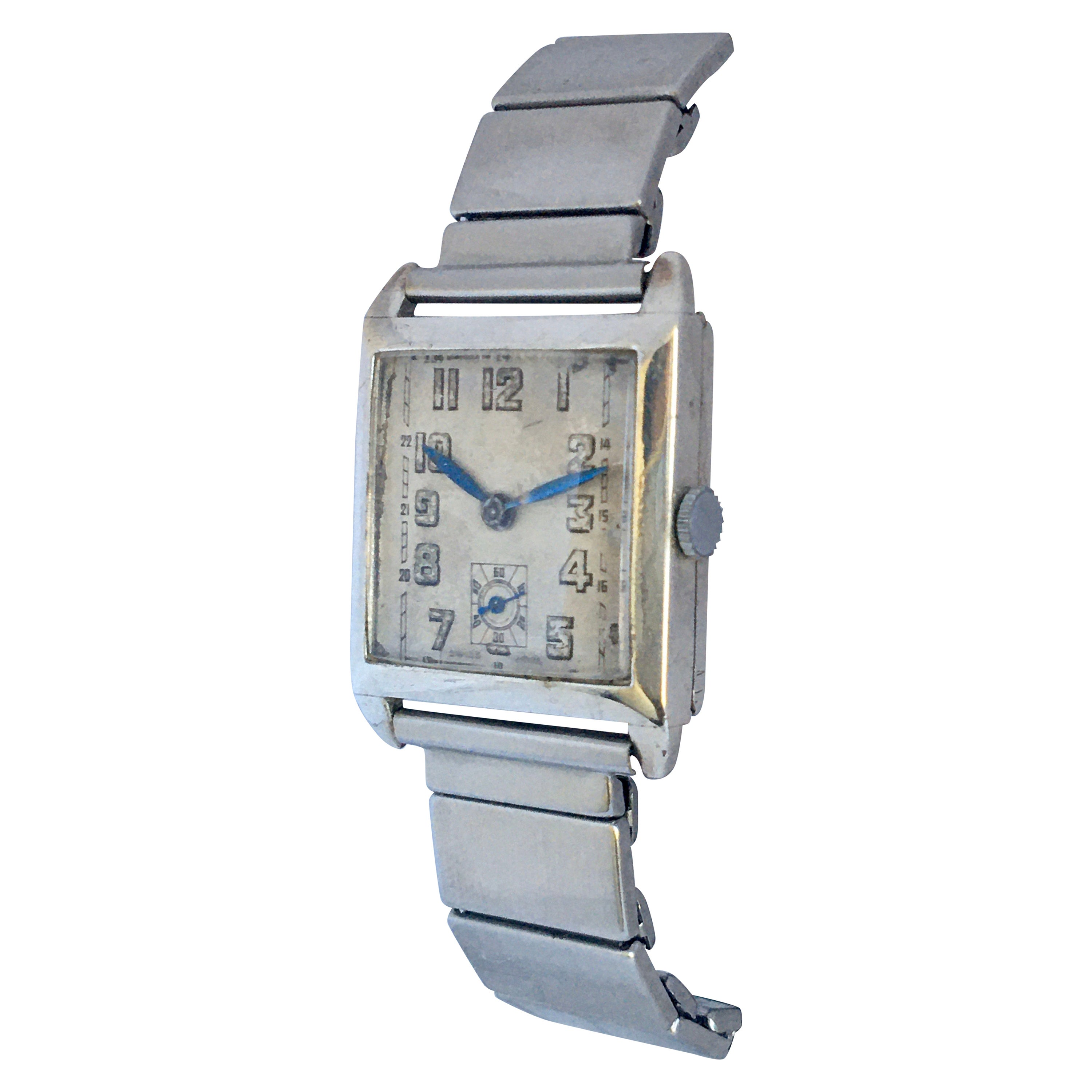 1930s Vintage Silver Omega Hand-Winding Watch
