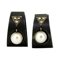 Marsh & Co. Steel, Diamond, Cultured Pearl and White Gold Earrings, circa 1930s