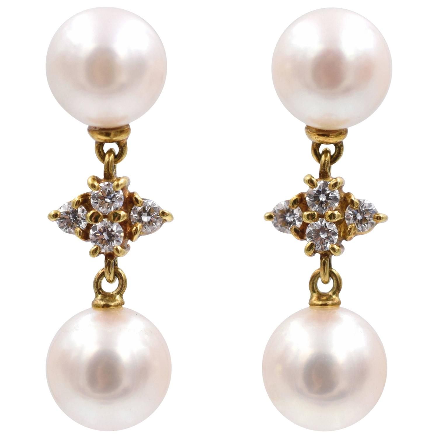 Mikimoto Pearl and Diamond Drop Earrings For Sale at 1stdibs