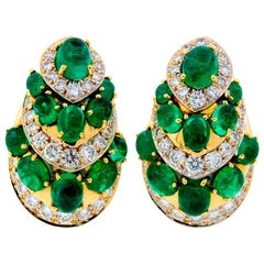 David Webb Emerald Diamond Yellow Gold Earrings